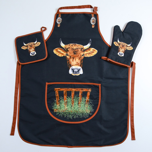 Küchen Schürzen Set mit Kuh Motiv