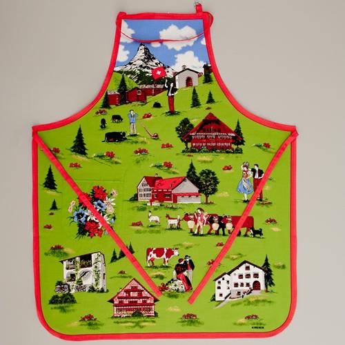 Küchenschürze Folklore, grün/bunt