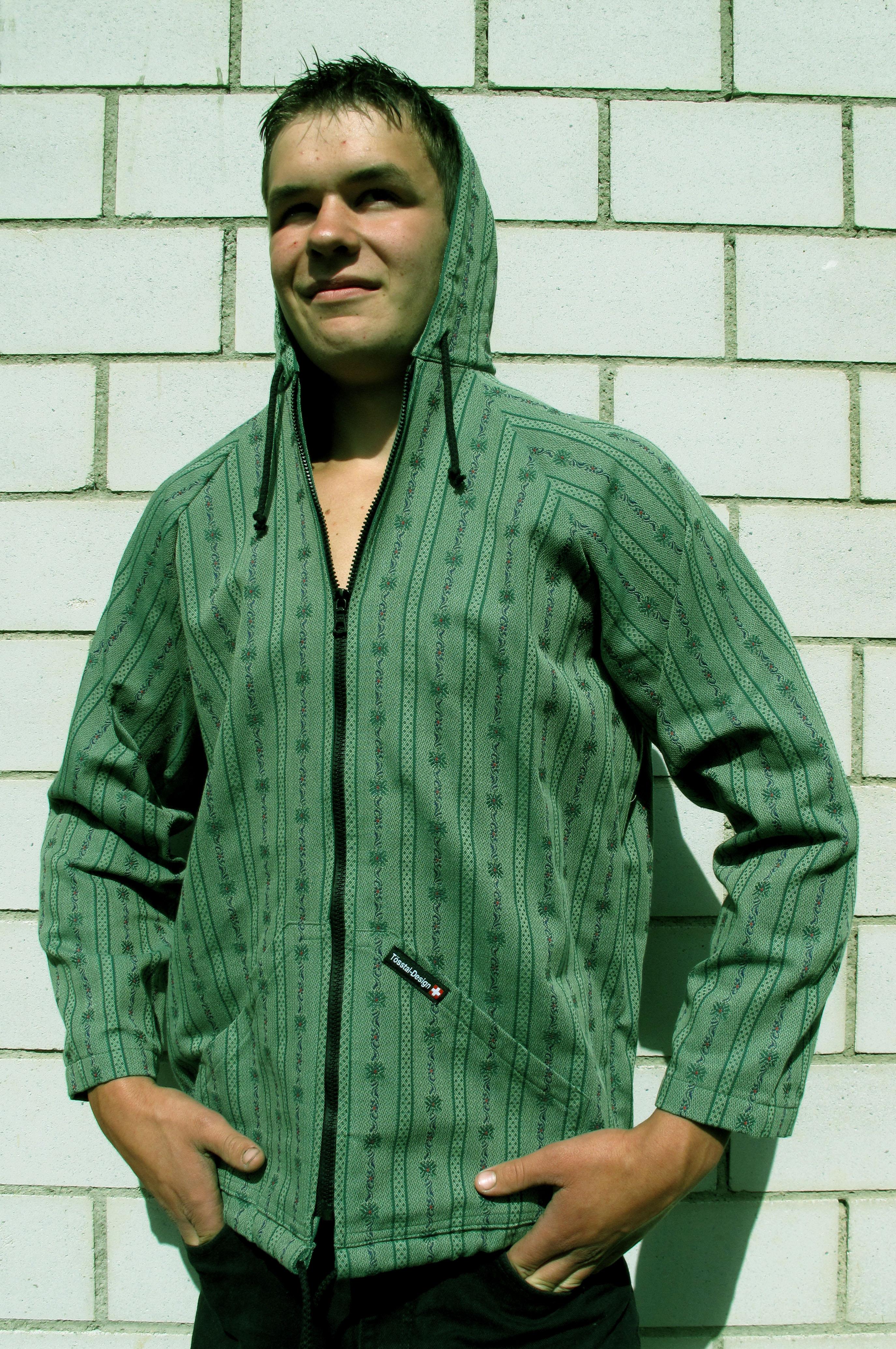 Edelweiss Kapuzenjacke Tösstal-Design, dunkelgrün