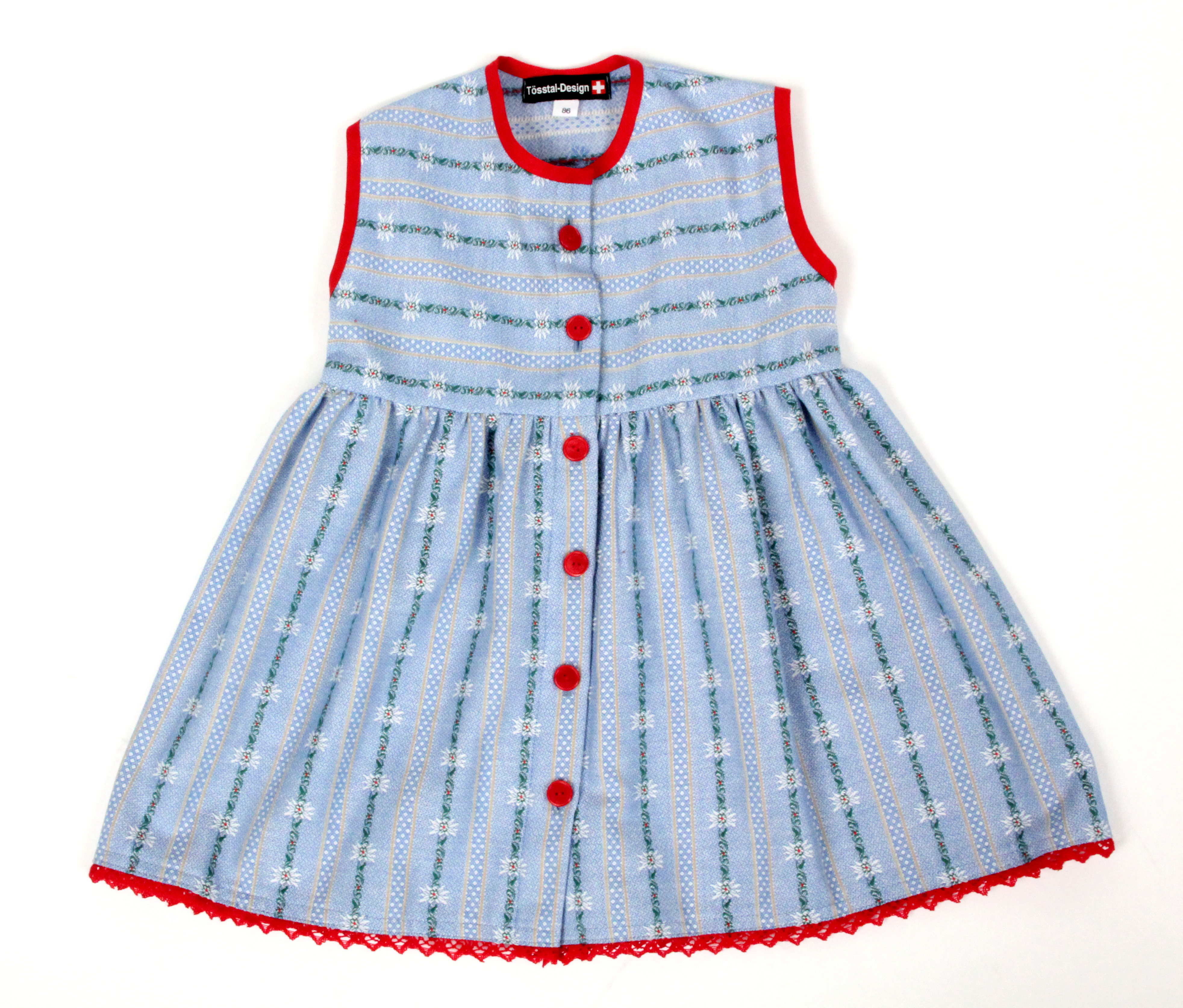 Edelweiss Kinderkleid, hellblau, durchgeknöpft