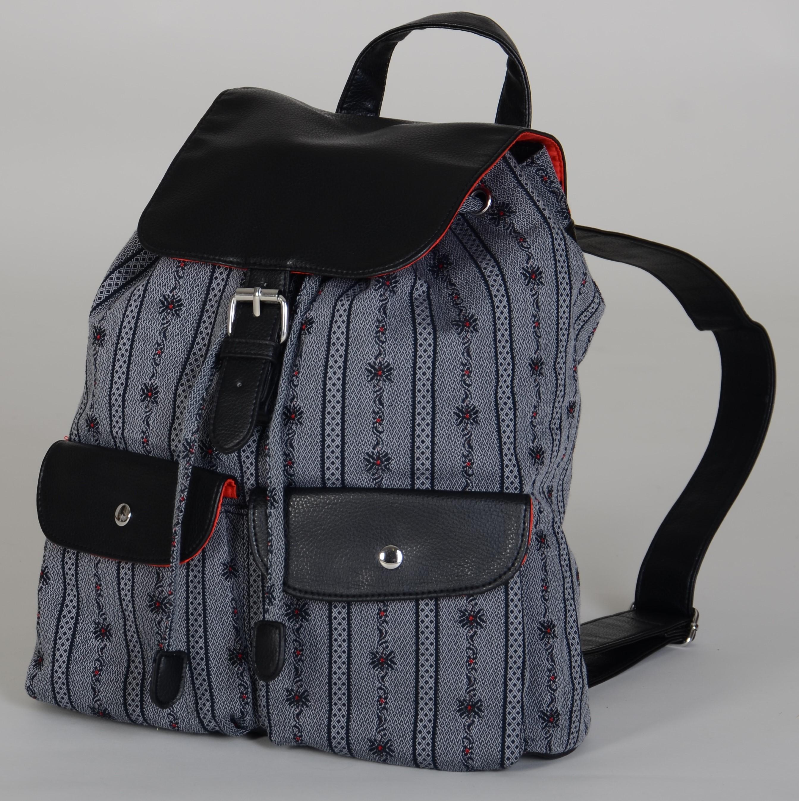 Rucksack Leder mit Edelweiss, schwarz