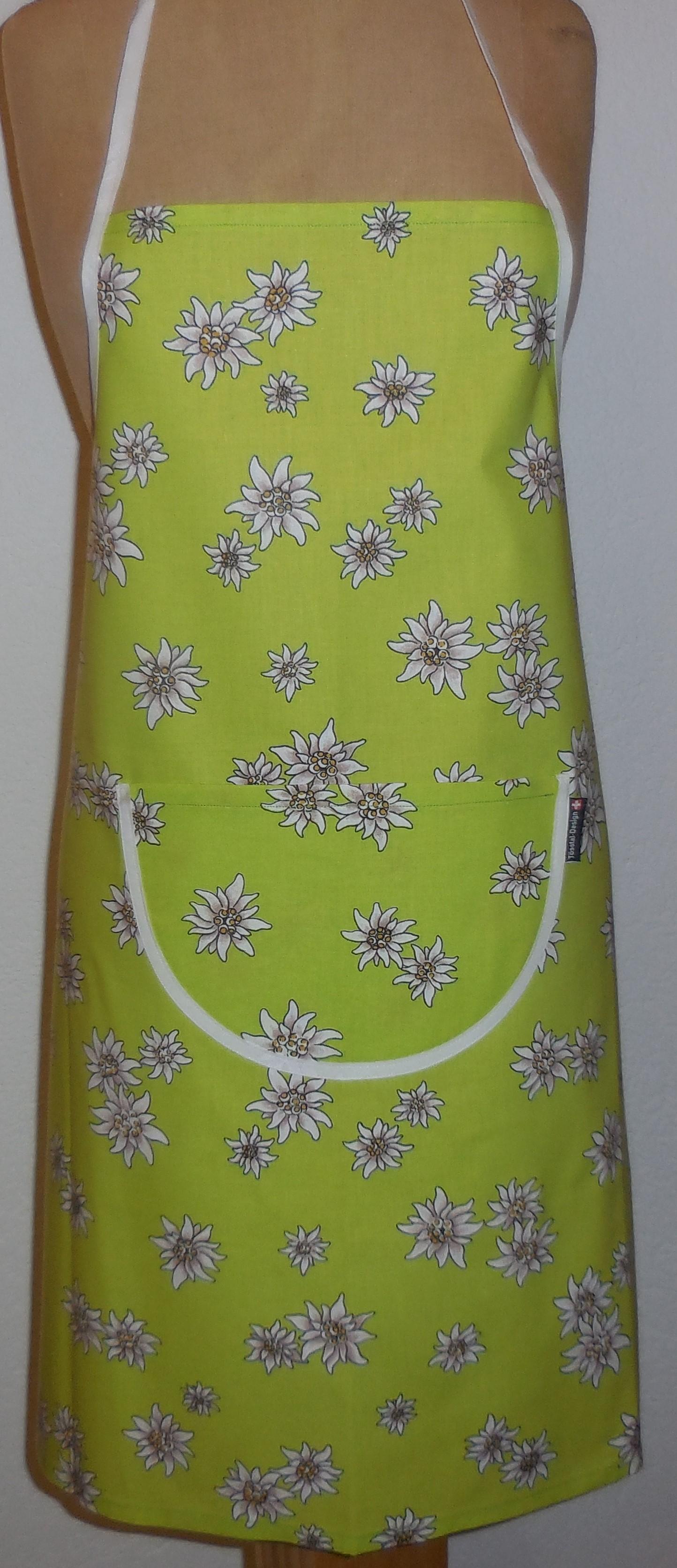Küchenschürze hellgrün / gelb / braun mit Edelweiss