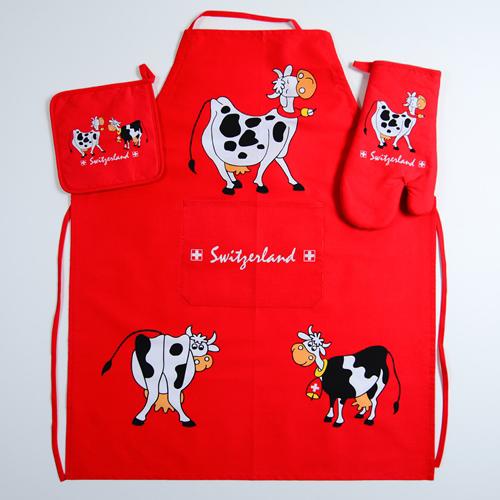 """Küchen Set rot """"Switzerland"""" mit Kühen, AKTION"""