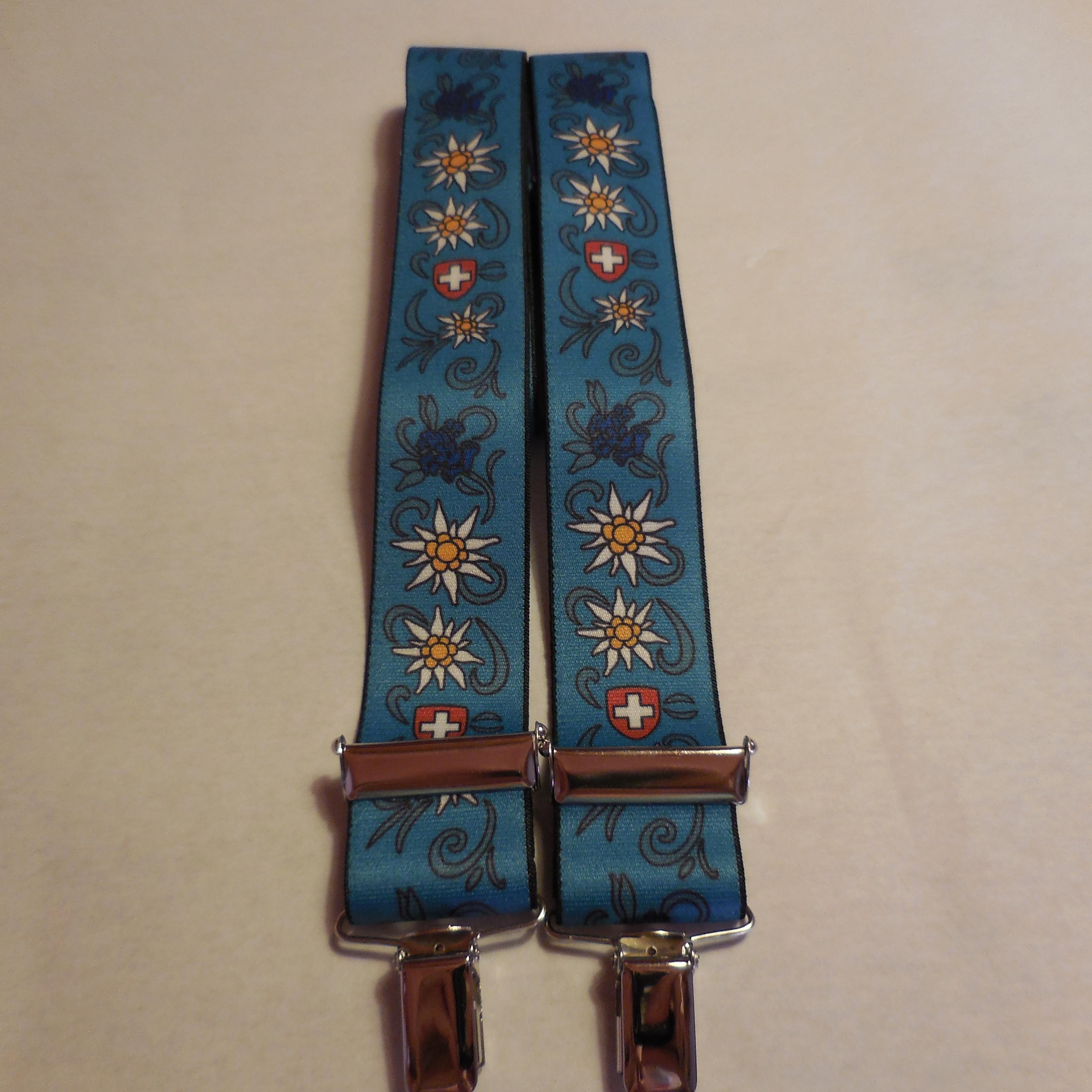 Hosenträger blau mit Edelweiss & Enzian