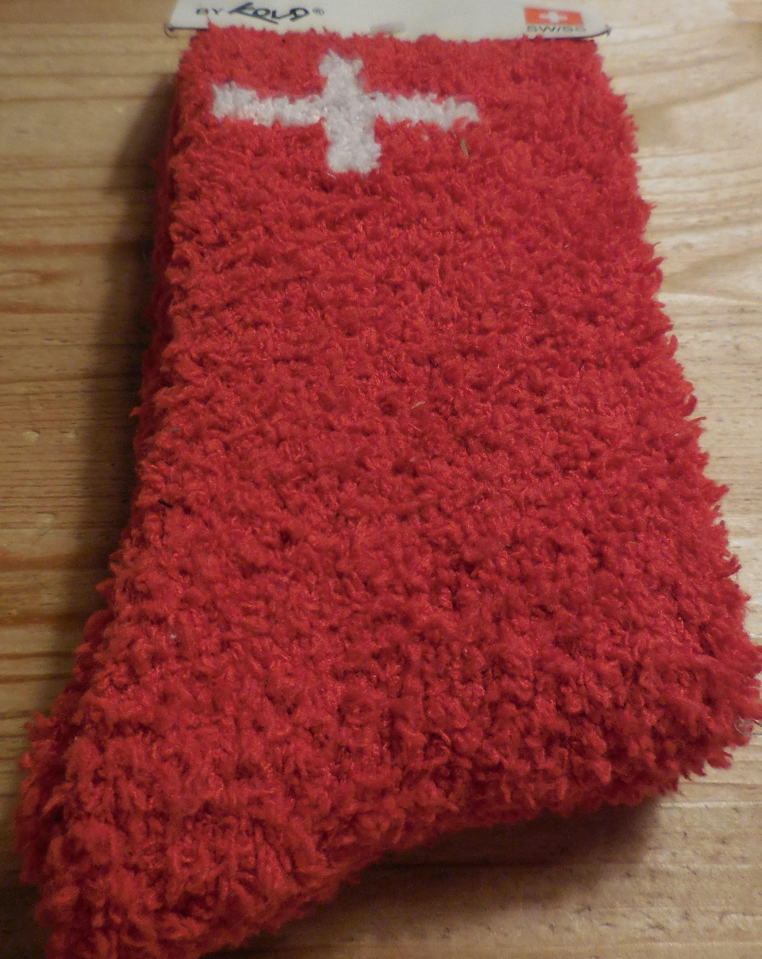 Socke rot mit Schweizer Kreuz