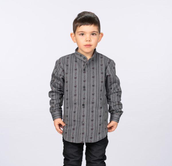 Edelweisshemd / Bauernhemd anthrazit, Langarm, Kind