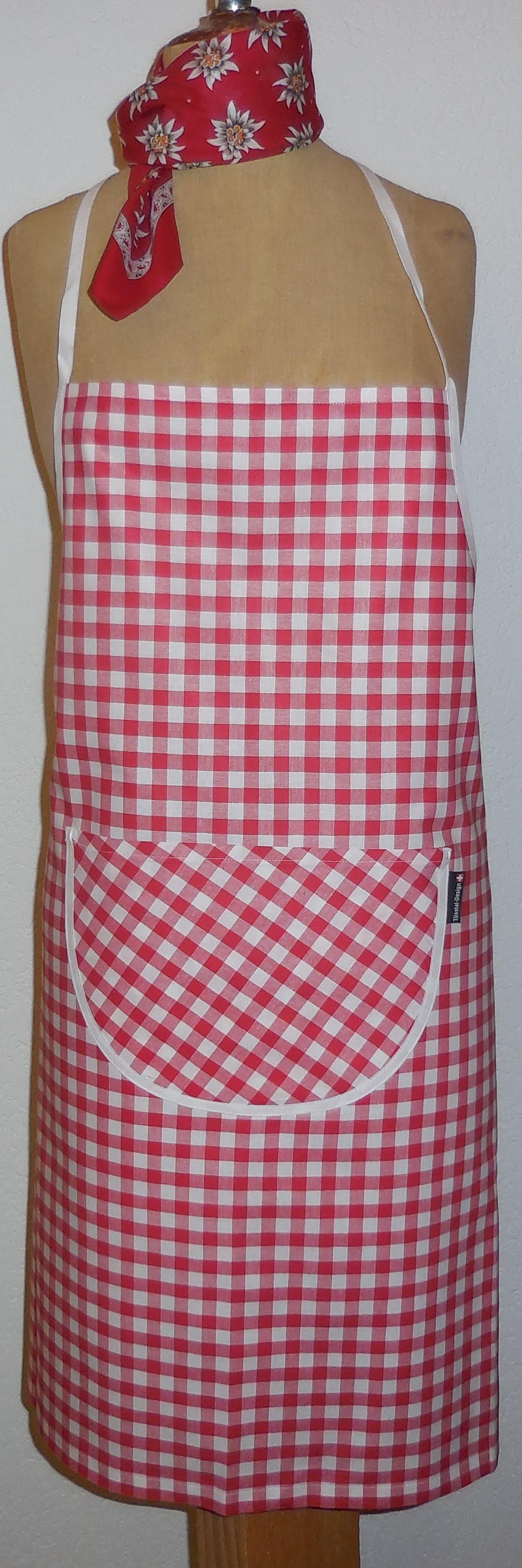 Küchenschürze kariert, rot/weiss und blau/weiss