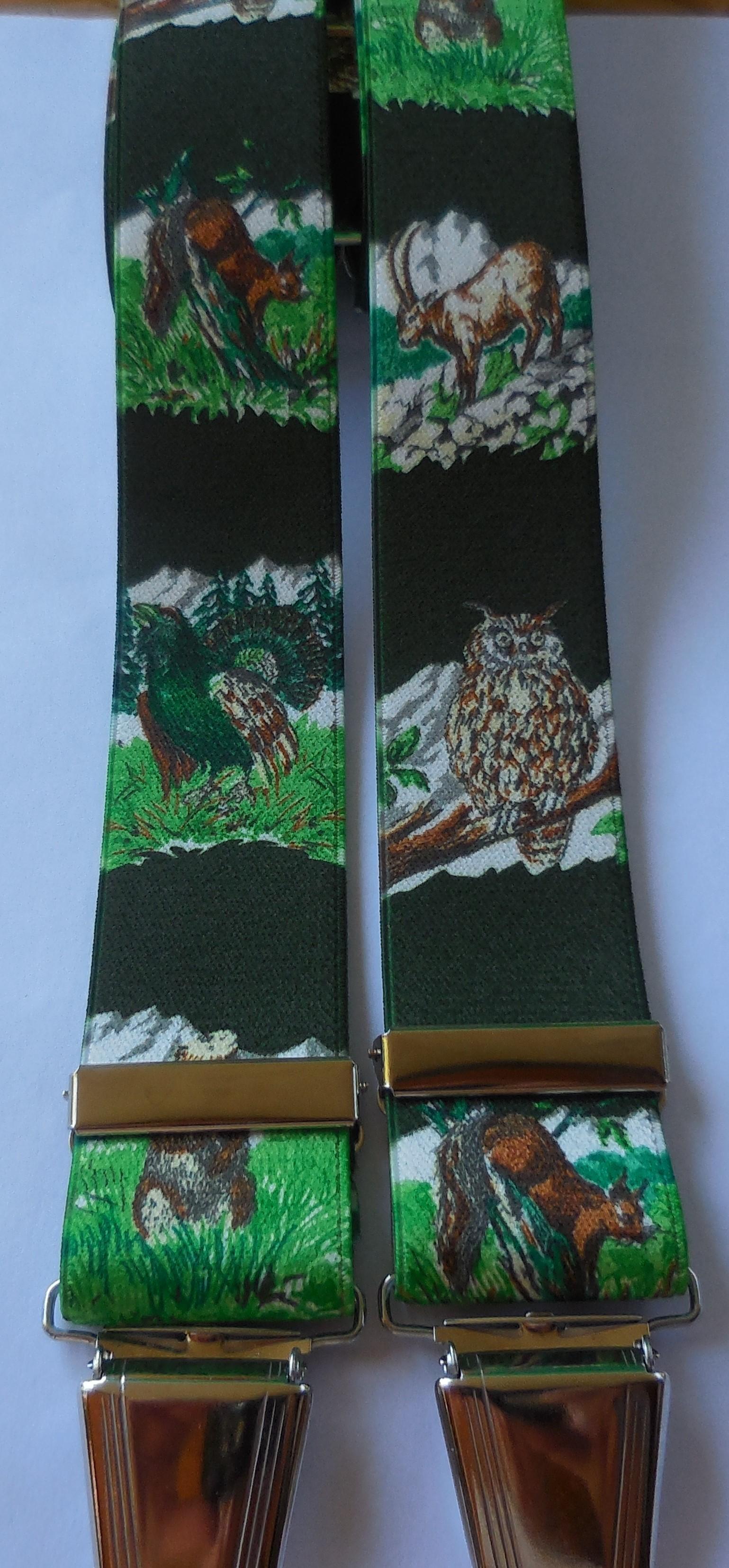 Hosenträger grün mit Waldtieren