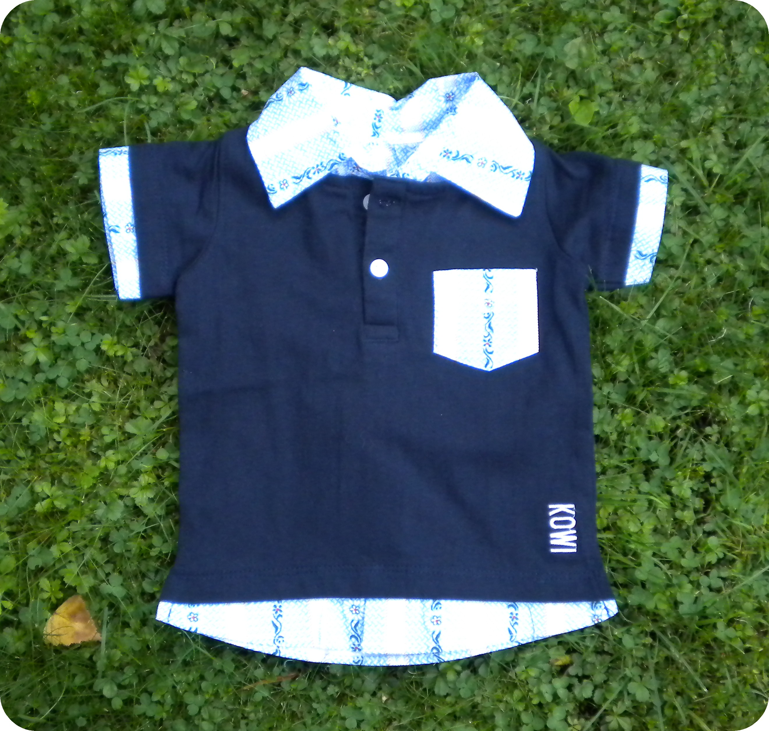 Polo Shirt blau mit Edelweiss Kragen, Kurzarm
