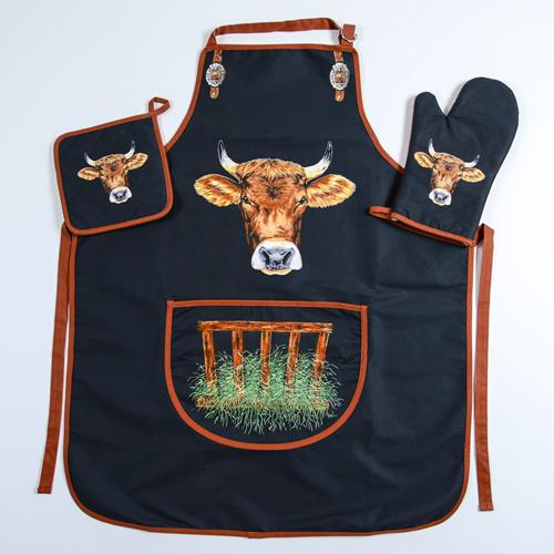 Küchen Schürzen Set mit Kuh Motiv, AKTION