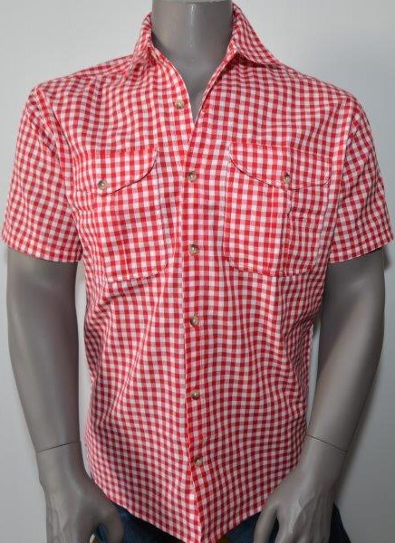 Hemd rot/weiss kariert, durchgeknöpft, Kurzarm