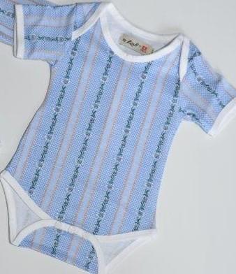 Baby Schwinger Body, Edelweiss, hellblau, Kurzarm