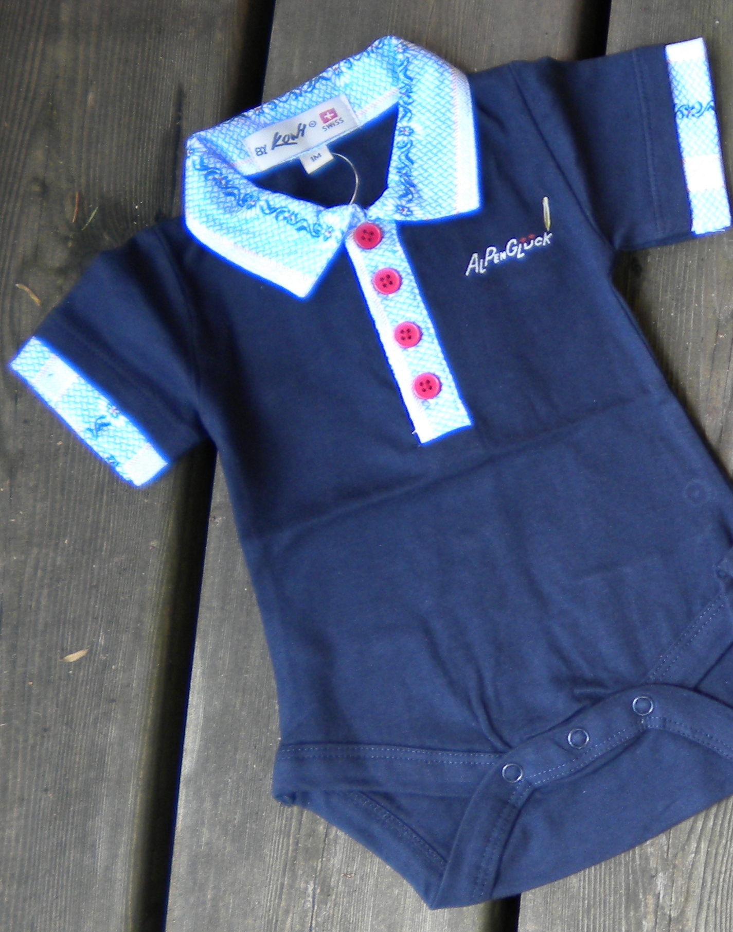 Baby Body Alpenglück blau mit Edelweiss Kragen, Kurzarm