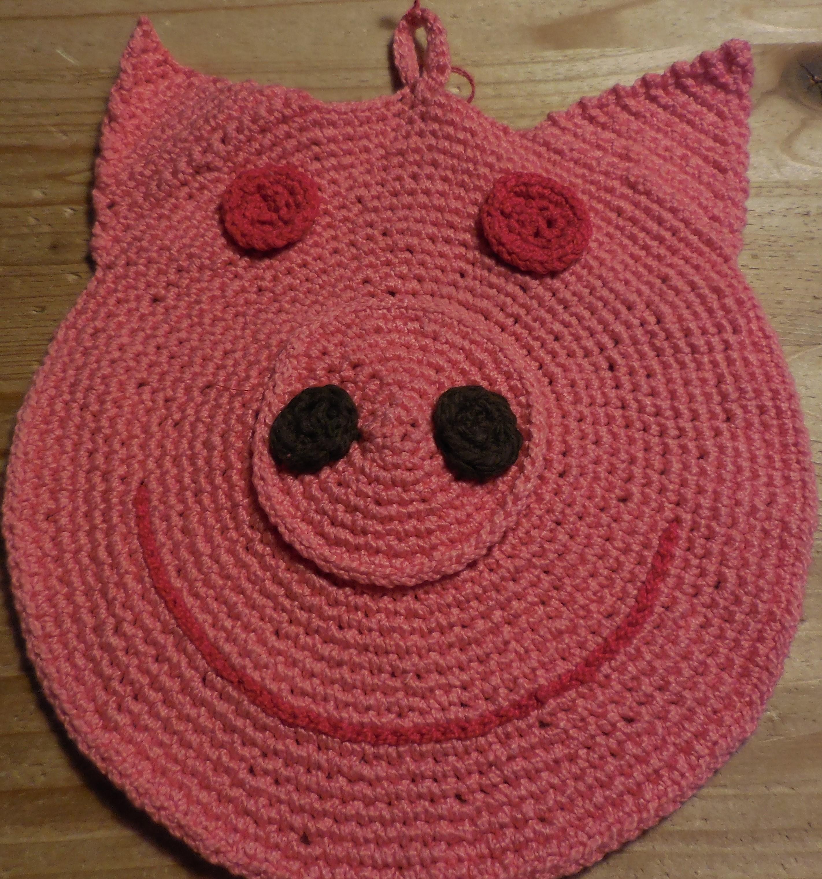 Topflappen Schweinchen, gehäkelt