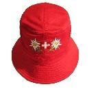 Mütze aus Stoff rot & schwarz