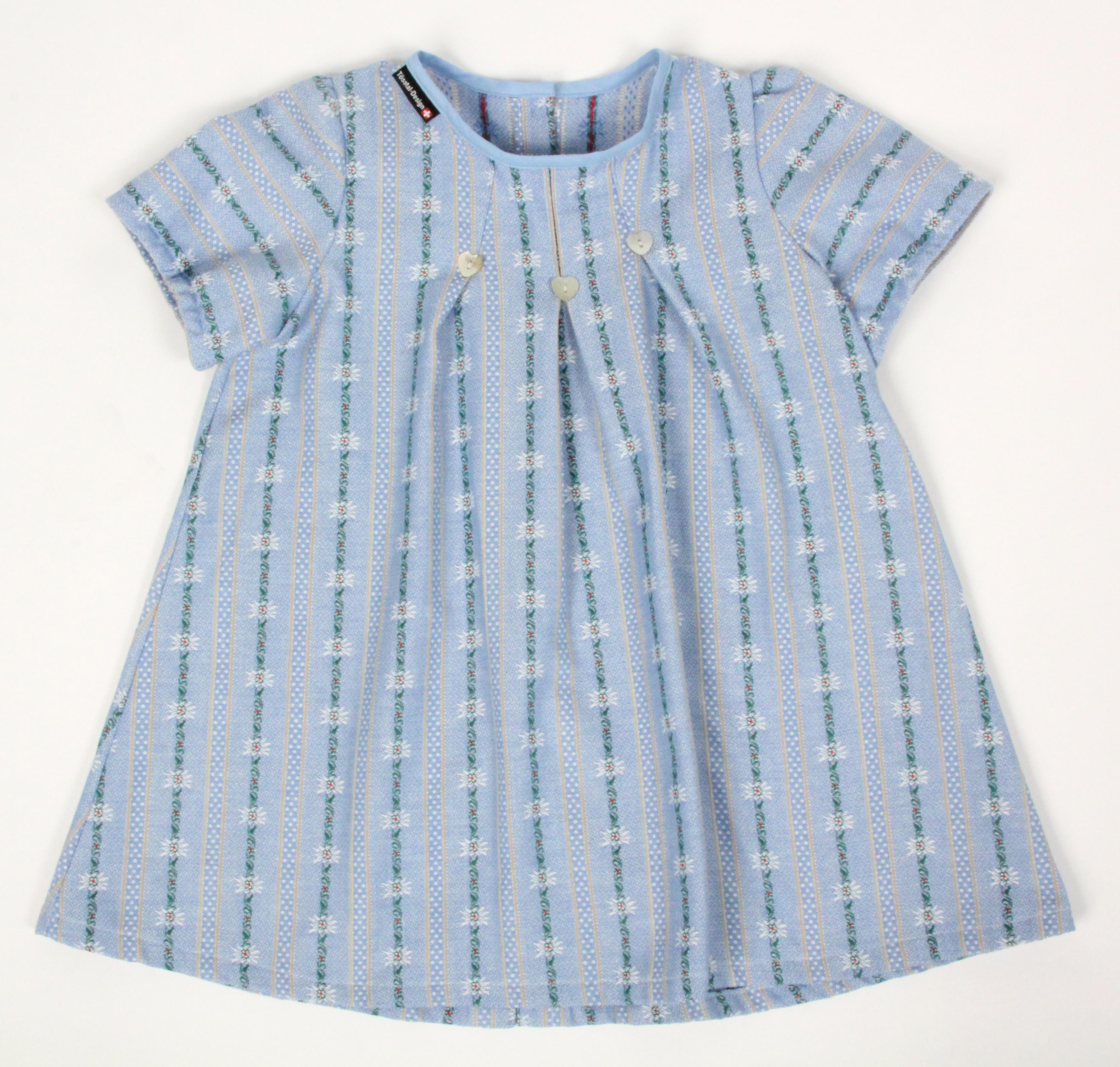 Edelweiss Kinderkleid hellblau, Rückenverschluss