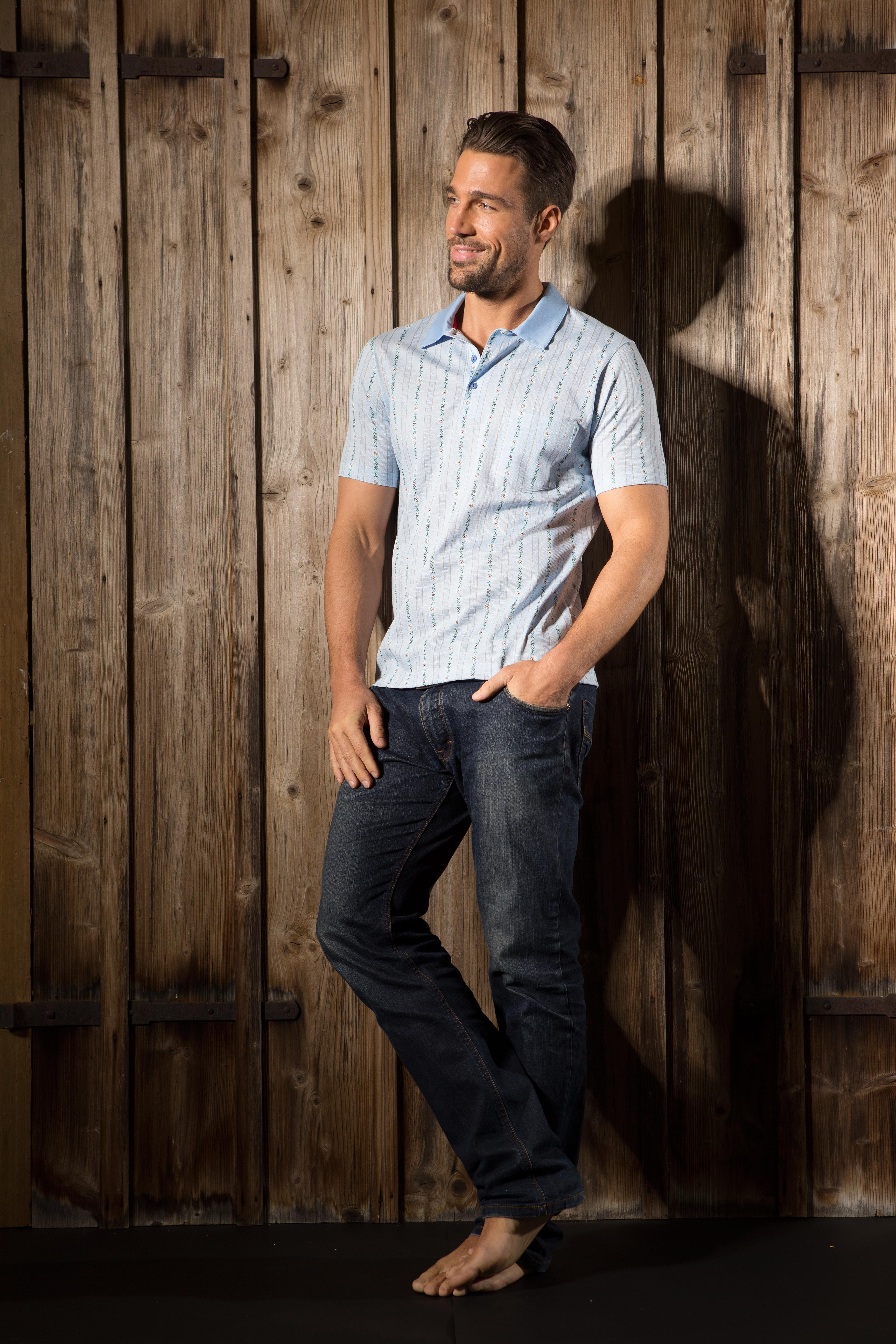 Edelweiss Polo Shirt hellblau