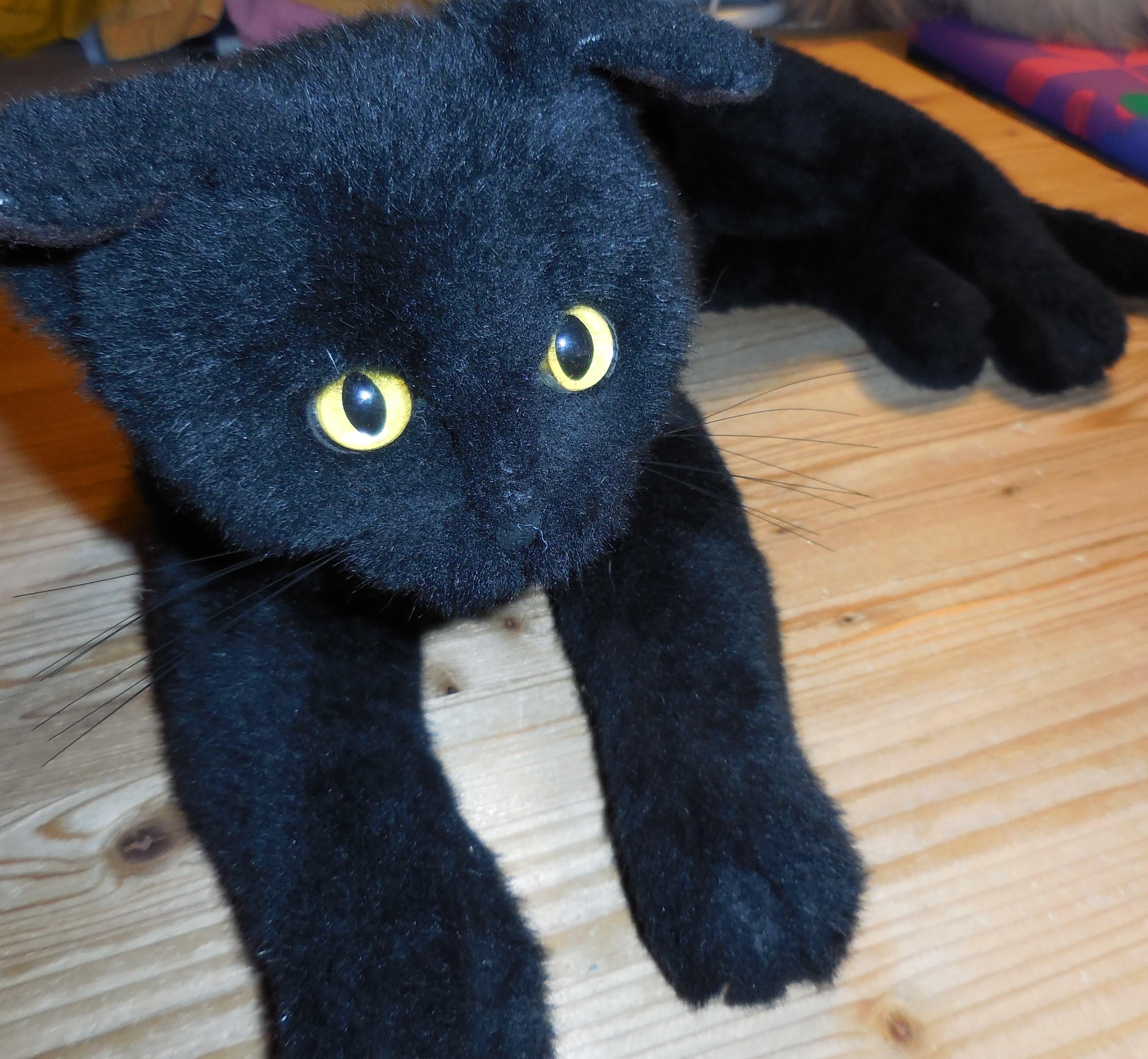 Katze schwarz, Plüsch liegend ca. 50cm