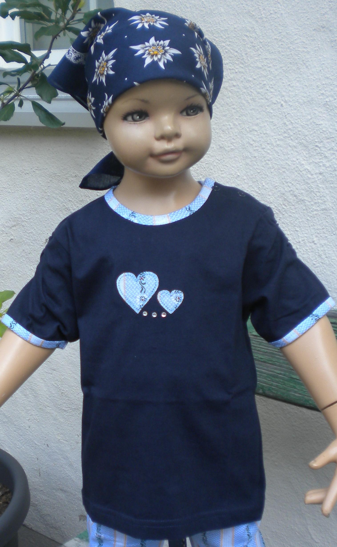 Shirt dunkelblau mit Edelweiss Herz, Kurzarm
