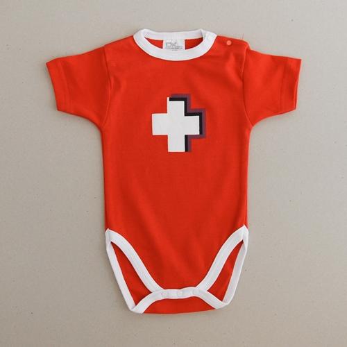 Baby Body rot mit CH Kreuz, Kurzarm