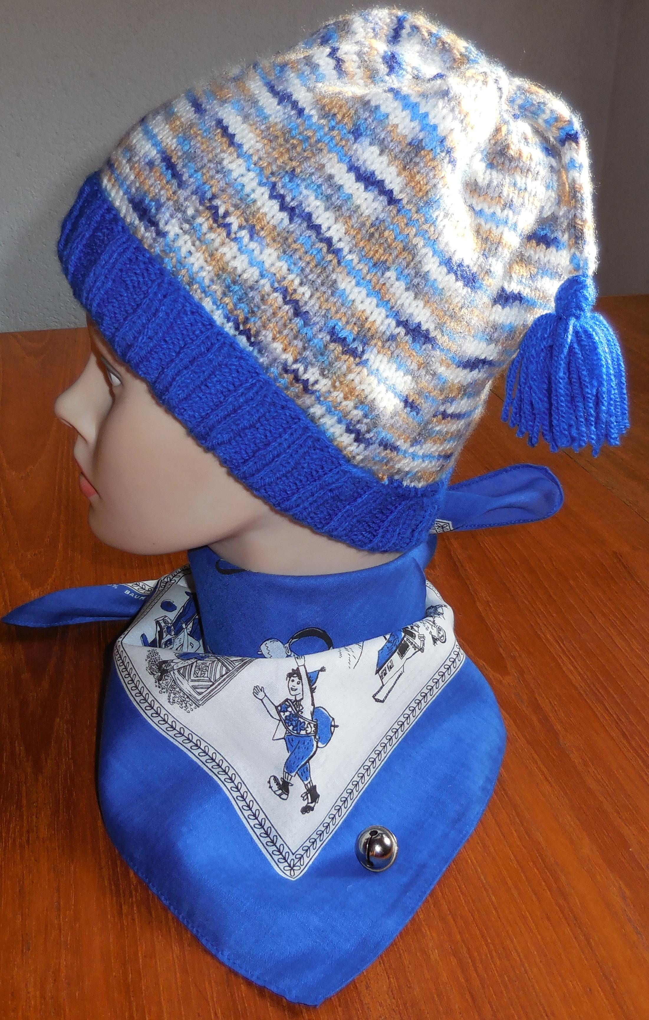 Kappe Schellen Ursli mit Glocke, blau meliert