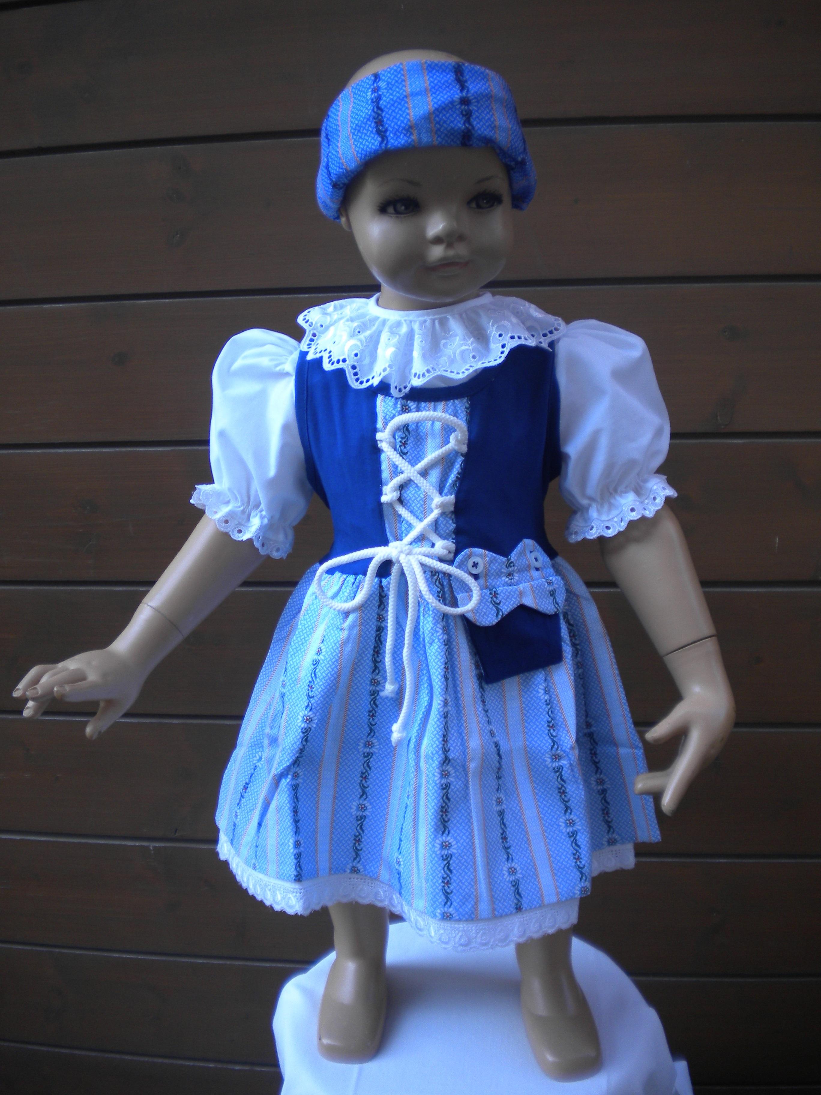 Edelweiss Trachtenkleid / mini Dirndl blau mit Bluse weiss