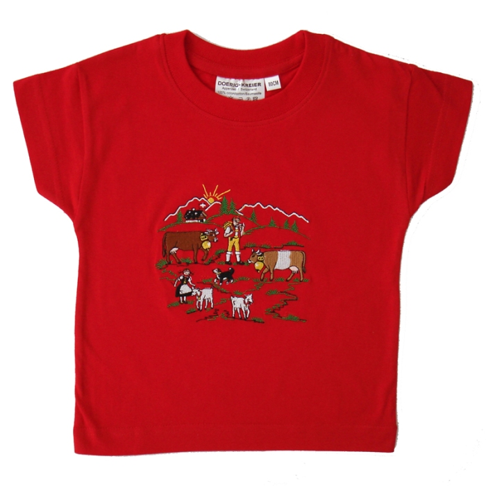 Kinder Shirt mit Stickerei Alpaufzug, Kurzarm